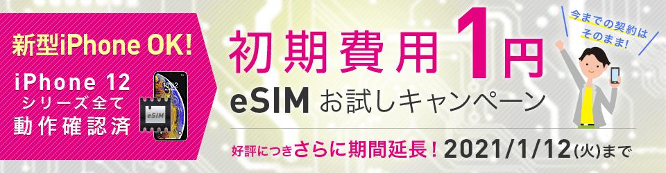 【スマホ】今キャリアのままお得にデータ通信!初期費用1円! eSIMお試しキャンペーン!iPhone XS XR以上に対応!eSIMって?